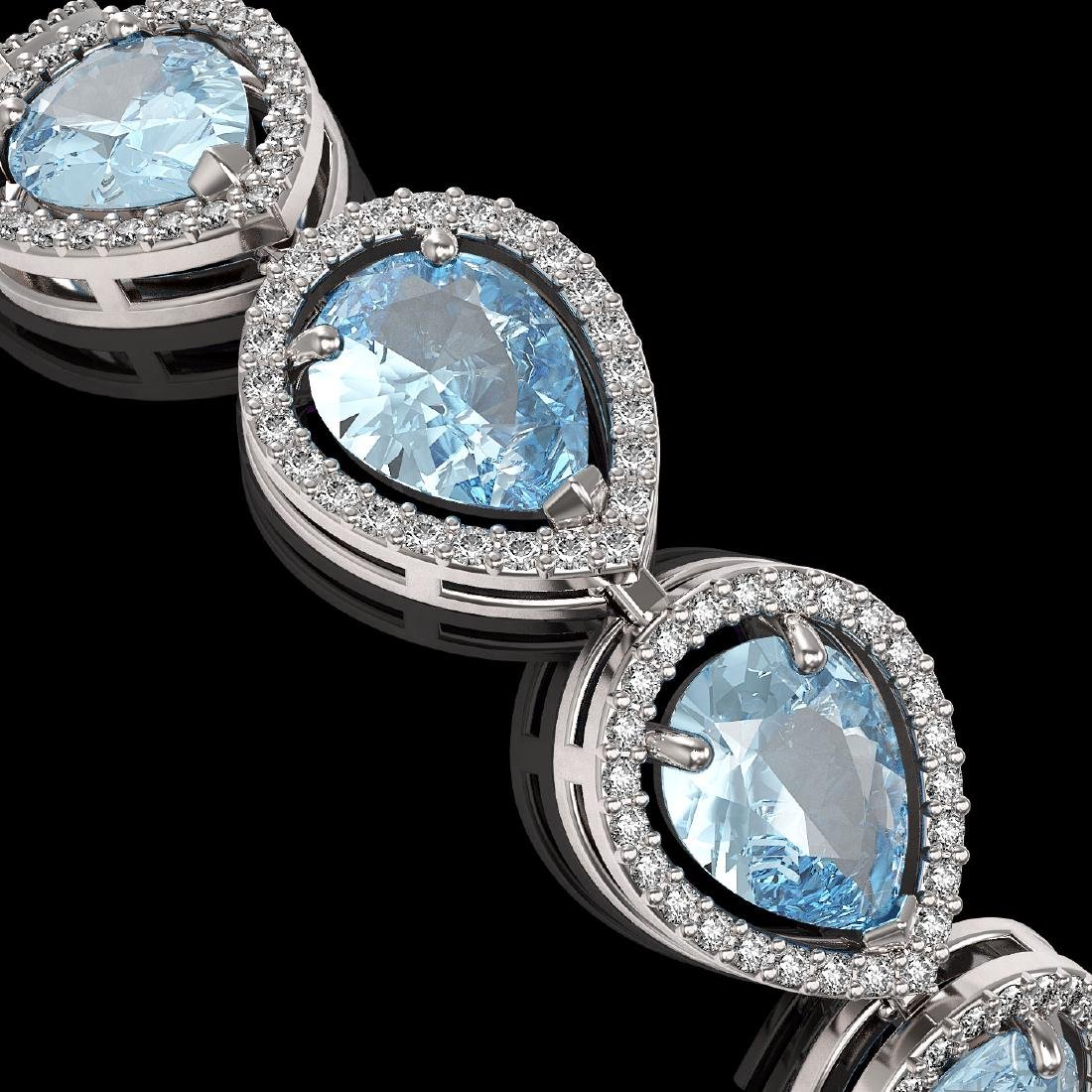 19.85 CTW Aquamarine & Diamond Halo Bracelet 10K White - 3