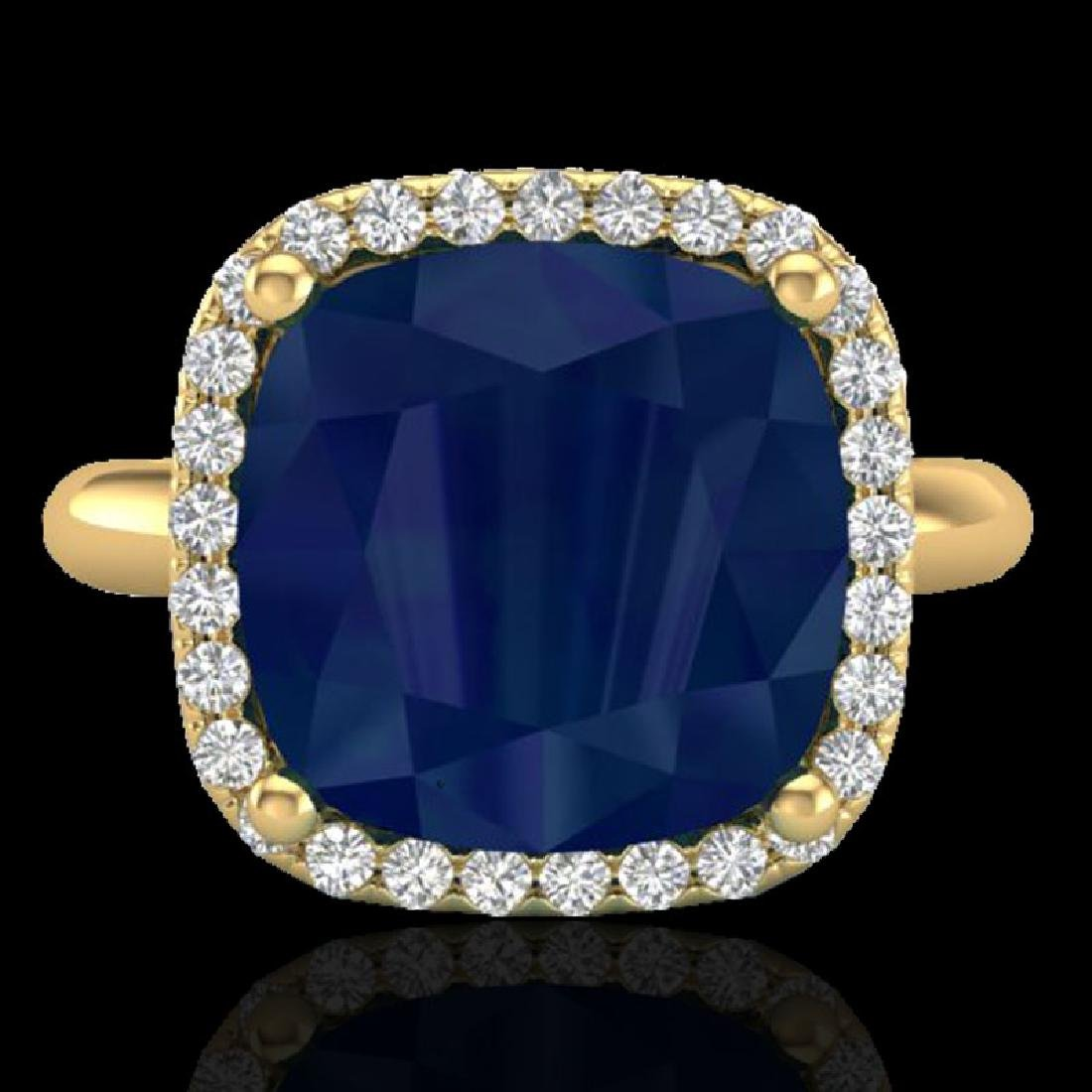 6 CTW Sapphire And Micro Pave Halo VS/SI Diamond Ring