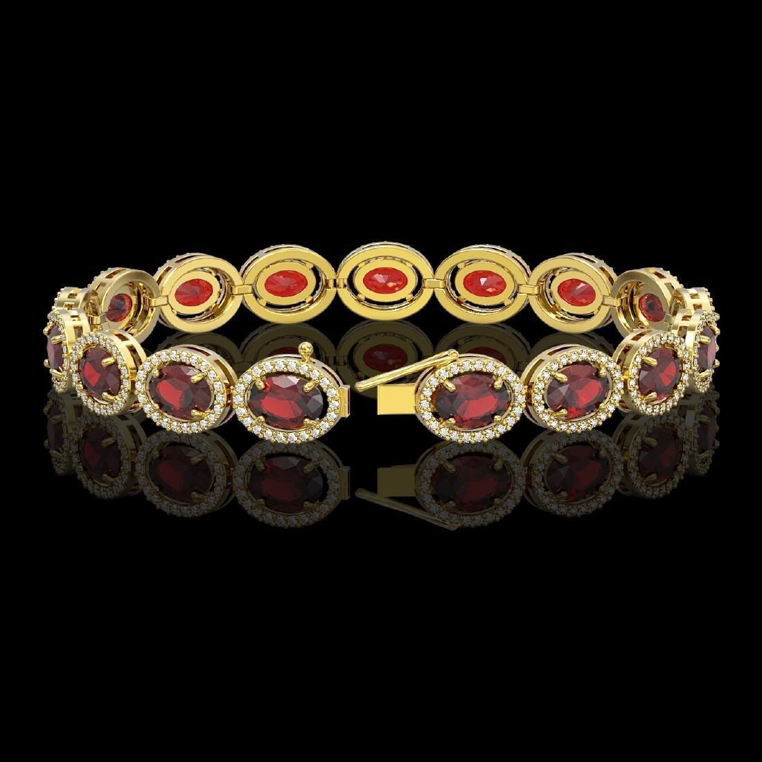 21.98 CTW Garnet & Diamond Halo Bracelet 10K Yellow - 2