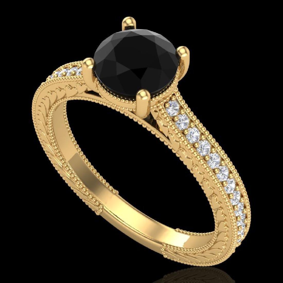 1.45 CTW Fancy Black Diamond Solitaire Engagement Art