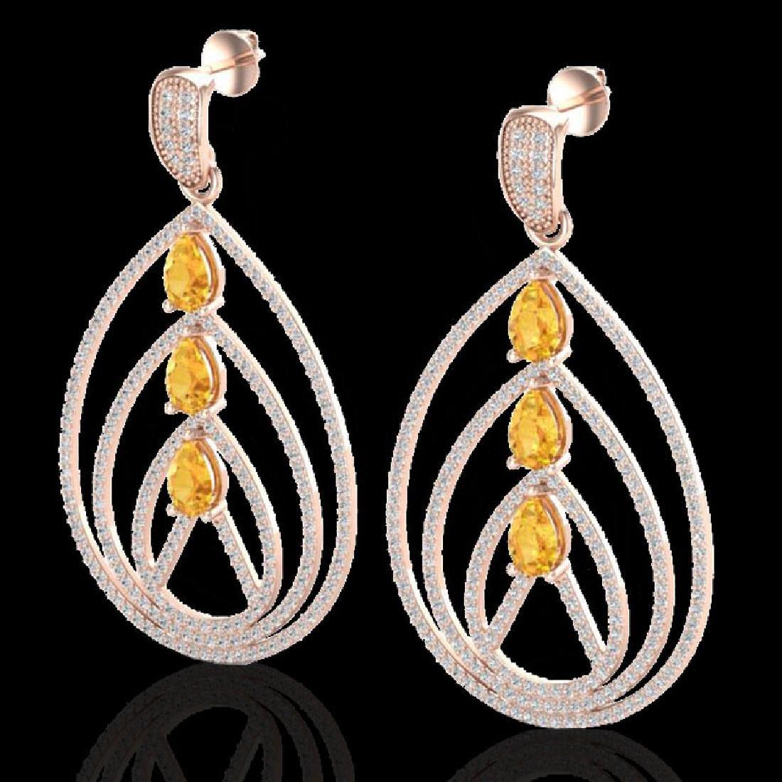 4 CTW Citrine & Micro Pave VS/SI Diamond Earrings 14K