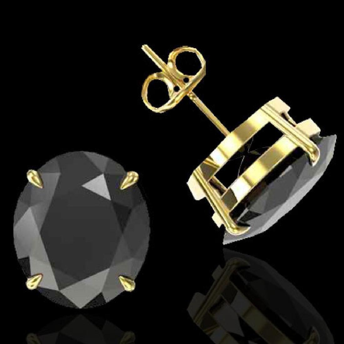 18 CTW Black VS/SI Diamond Designer Stud Earrings 18K - 2