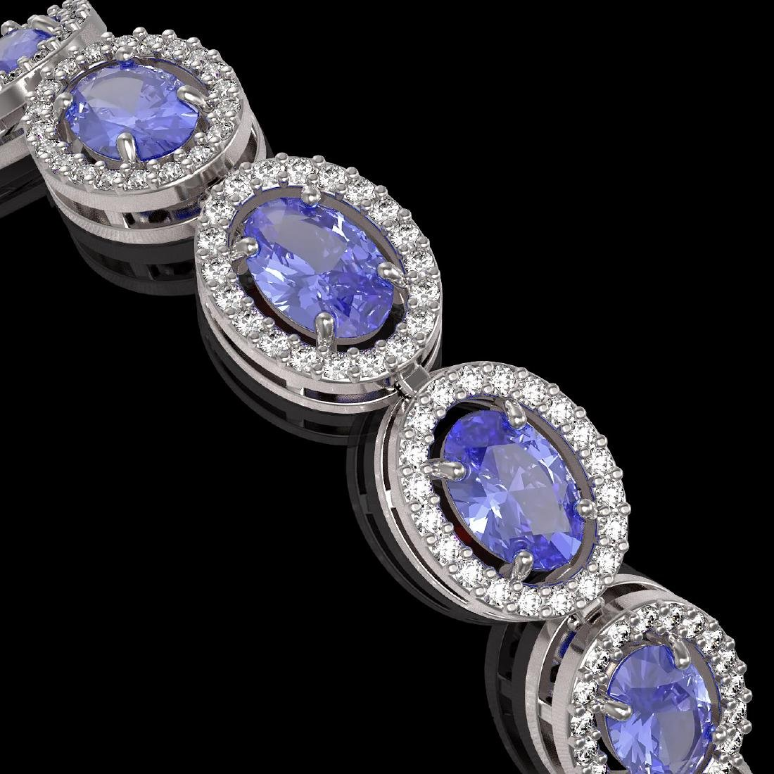 14.25 CTW Tanzanite & Diamond Halo Bracelet 10K White