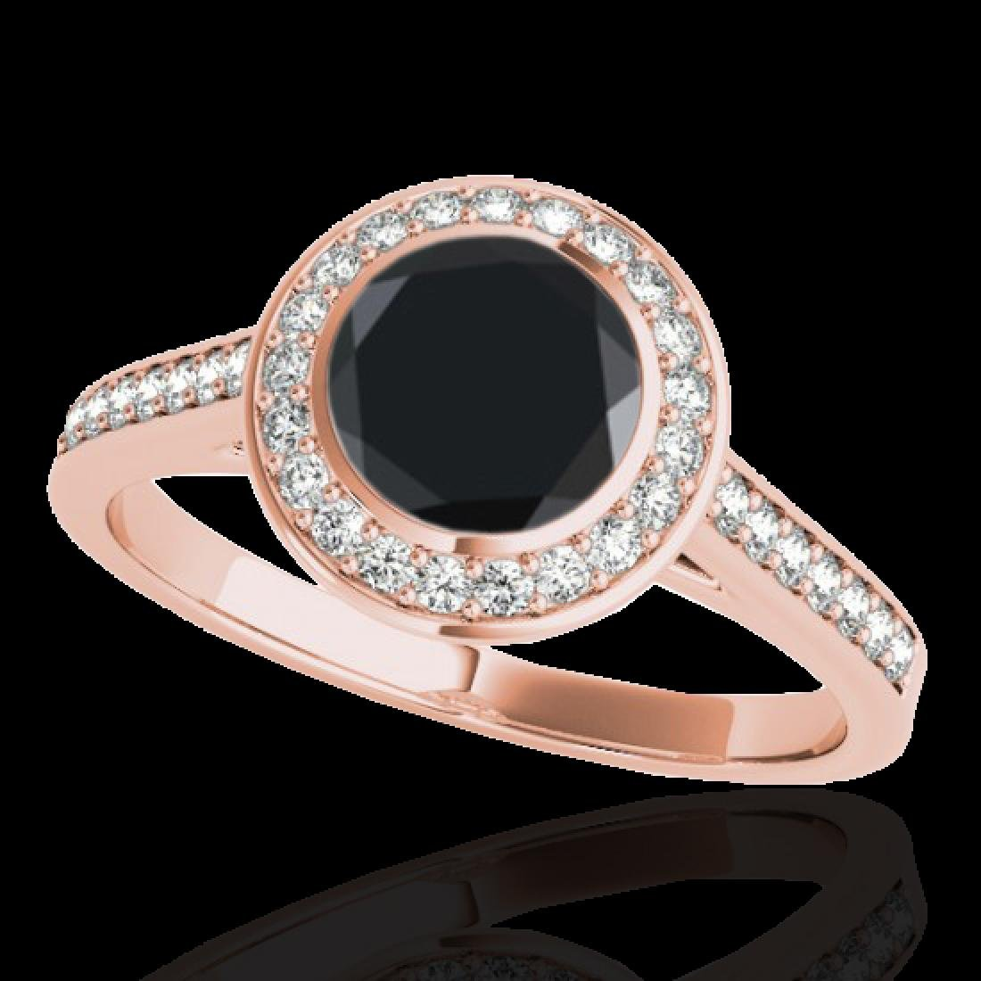 1.3 CTW Certified VS Black Diamond Solitaire Halo Ring - 2