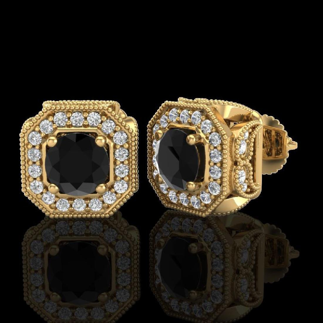 2.75 CTW Fancy Black Diamond Solitaire Art Deco Stud - 2