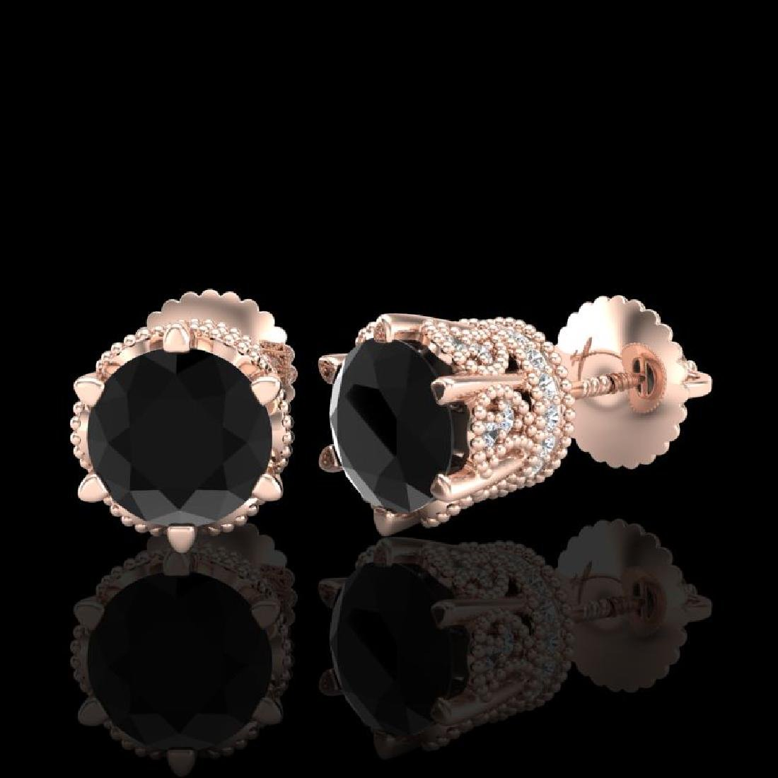 2.04 CTW Fancy Black Diamond Solitaire Art Deco Stud - 2