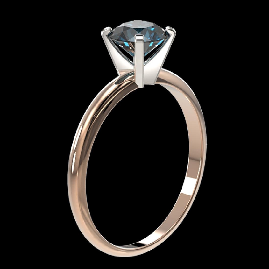 1 CTW Certified Intense Blue SI Diamond Solitaire - 3