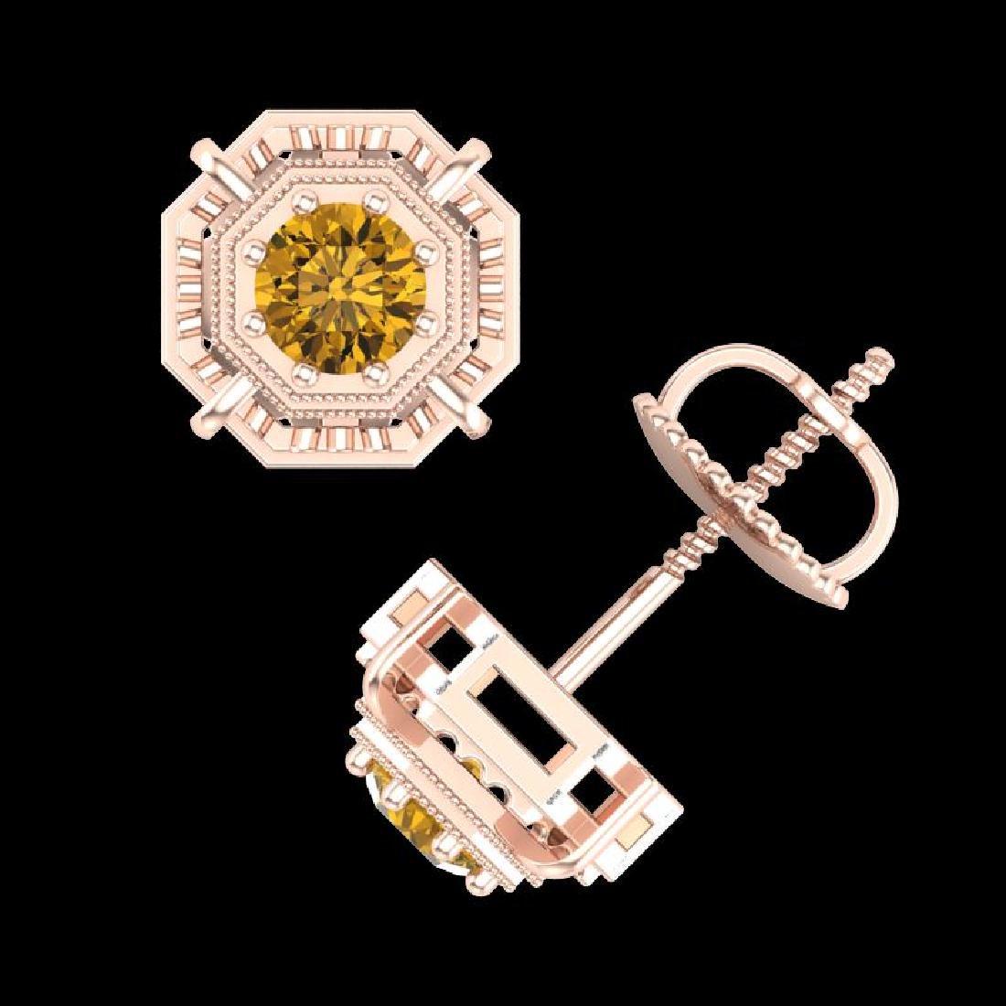 1.11 CTW Intense Fancy Yellow Diamond Art Deco Stud - 3