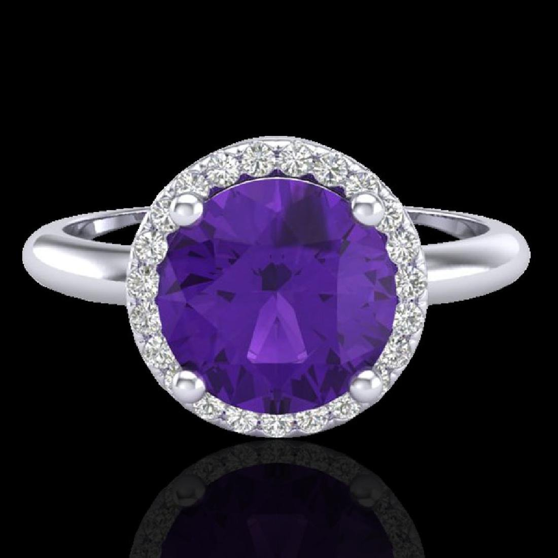 2 CTW Amethyst & Micro Pave VS/SI Diamond Ring Halo 18K