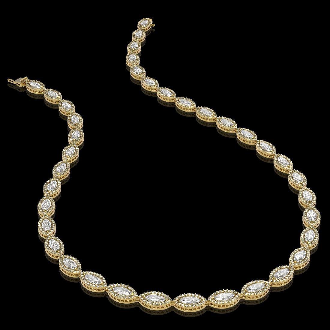 24.42 CTW Marquise Diamond Designer Necklace 18K Yellow - 2