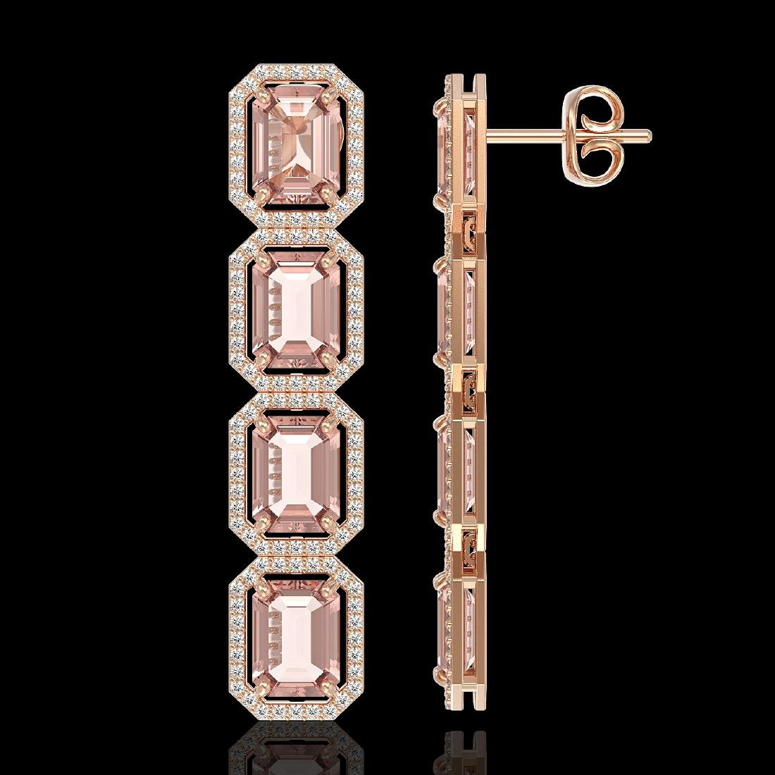 19.81 CTW Morganite & Diamond Halo Earrings 10K Rose - 2