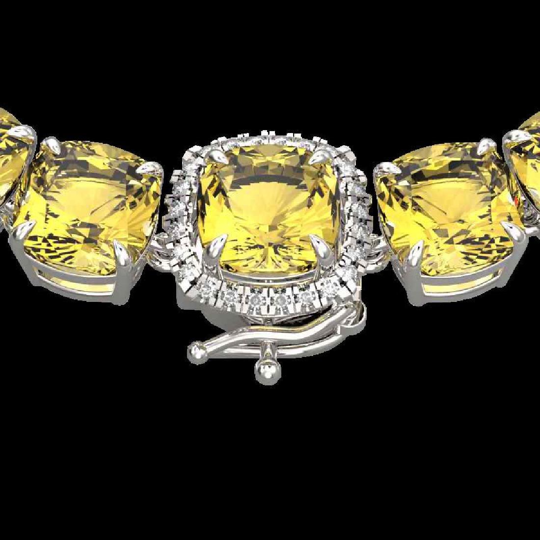87 CTW Citrine & VS/SI Diamond Halo Micro Pave Necklace