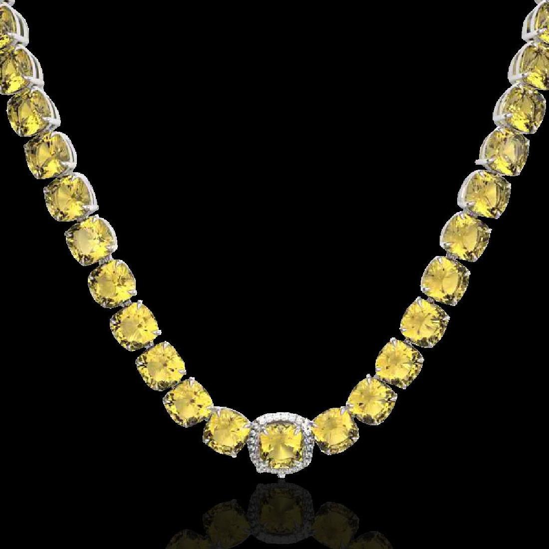 87 CTW Citrine & VS/SI Diamond Halo Micro Pave Necklace - 2
