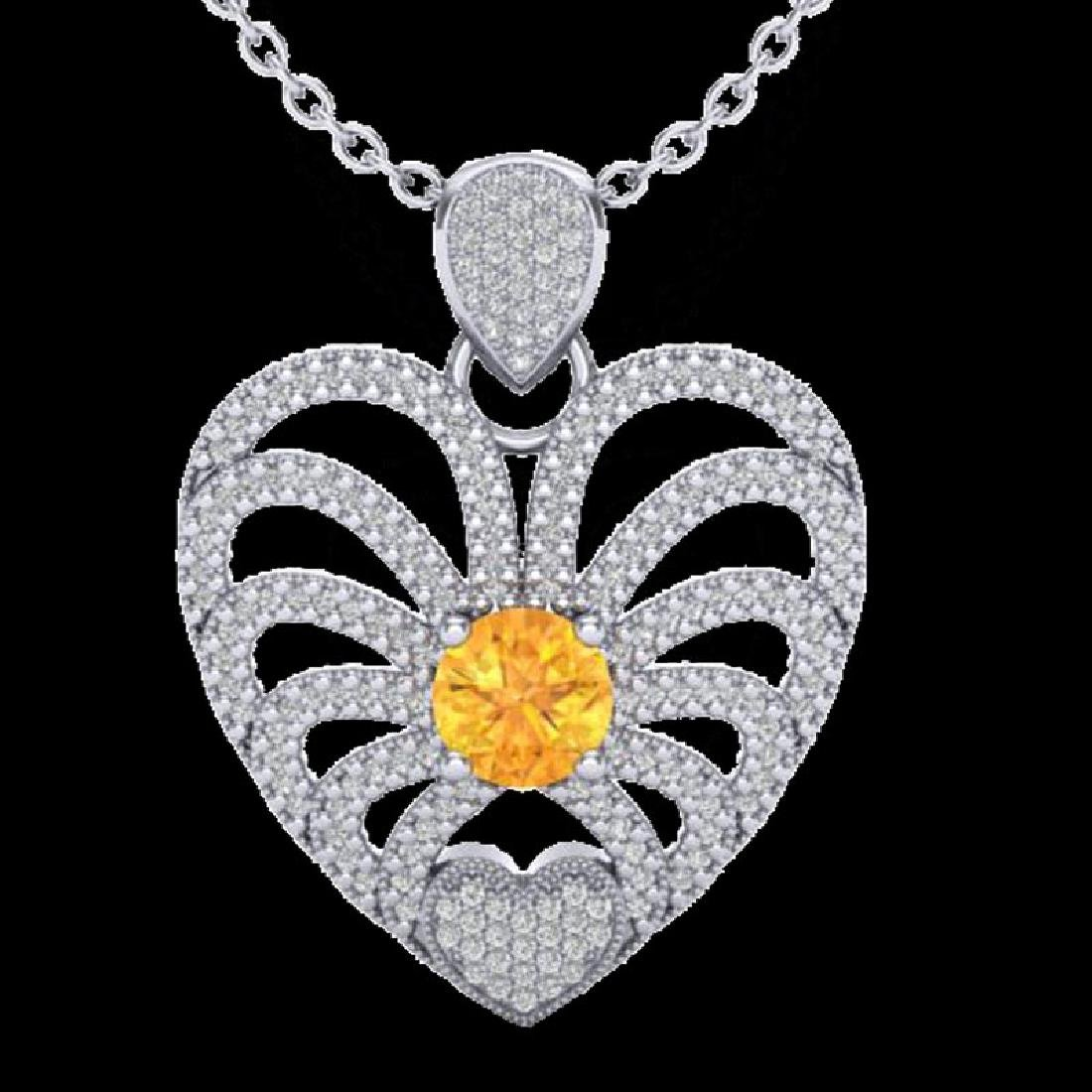 3 CTW Citrine With Micro Pave VS/SI Diamond Heart