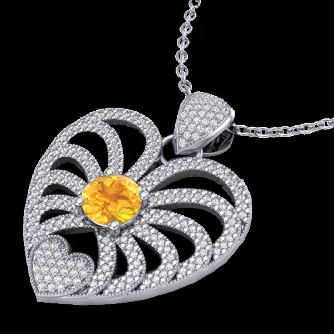 3 CTW Citrine With Micro Pave VS/SI Diamond Heart - 2