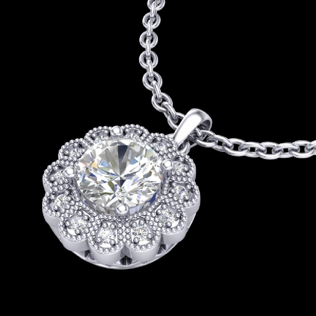 1.15 CTW VS/SI Diamond Solitaire Art Deco Stud Necklace