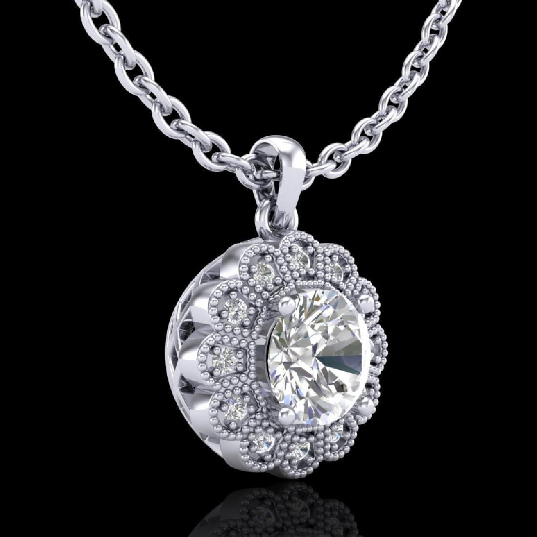 1.15 CTW VS/SI Diamond Solitaire Art Deco Stud Necklace - 2