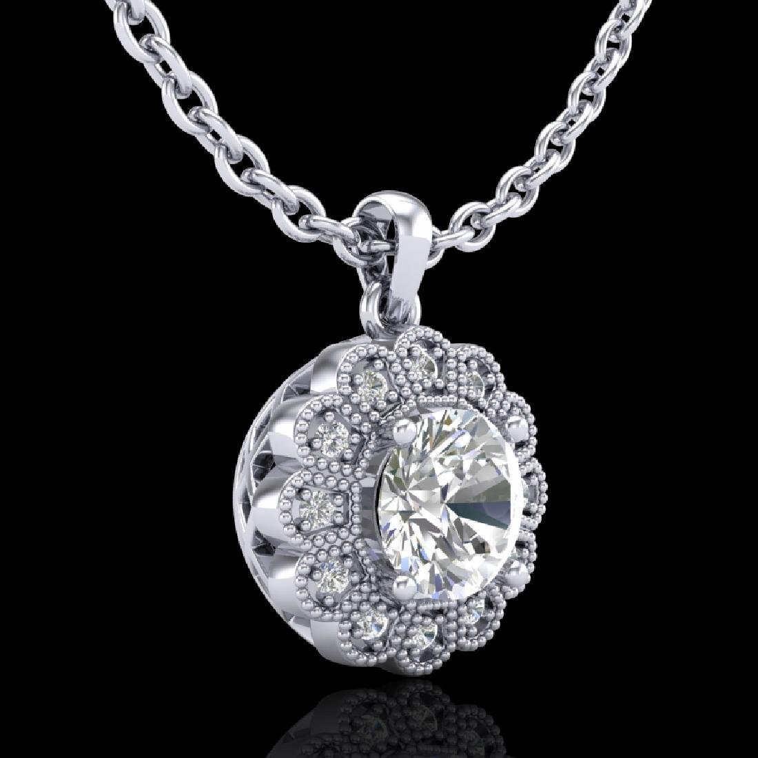 1.15 CTW VS/SI Diamond Solitaire Art Deco Stud Necklace - 2