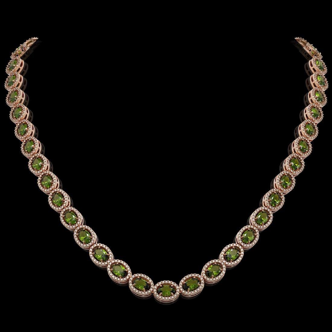 31.1 CTW Tourmaline & Diamond Halo Necklace 10K Rose