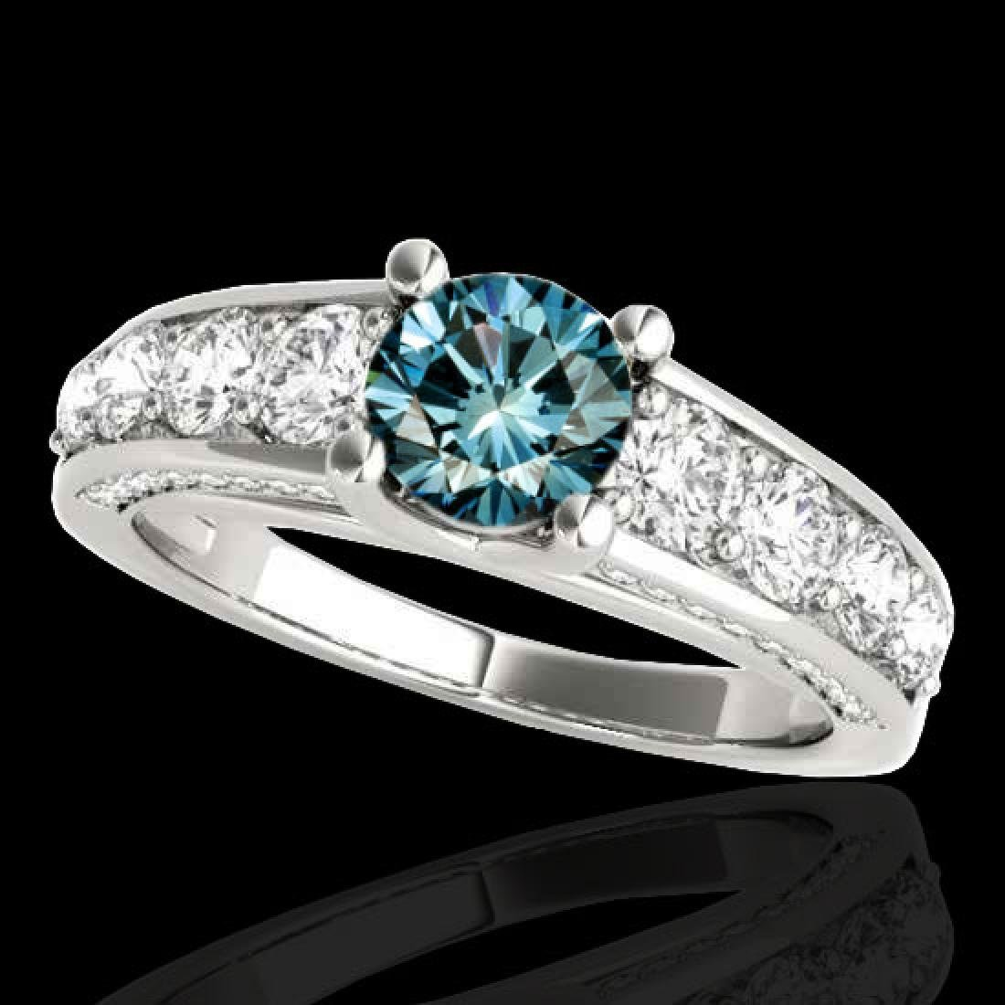 3.05 CTW SI Certified Fancy Blue Diamond Solitaire Ring