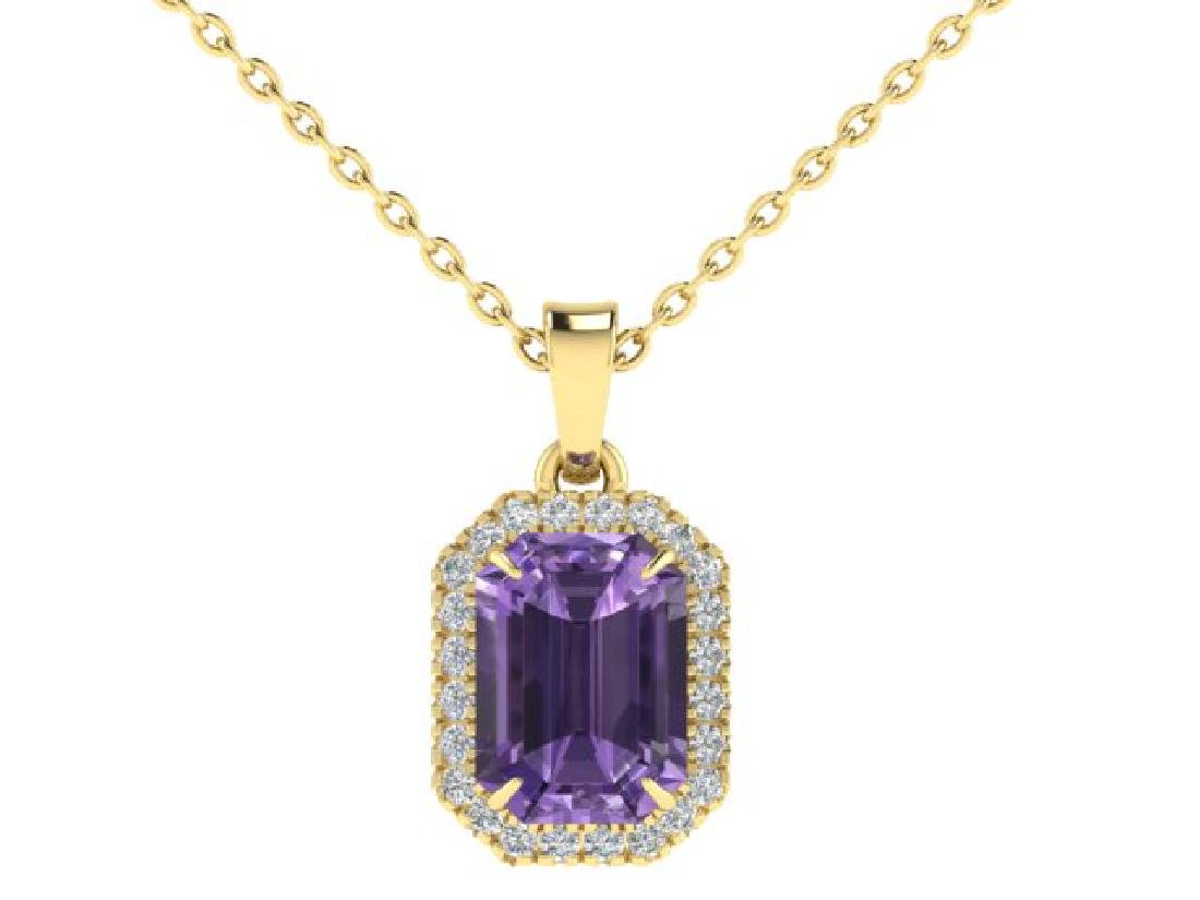 5 CTW Amethyst & Micro Pave VS/SI Diamond Halo Necklace - 2