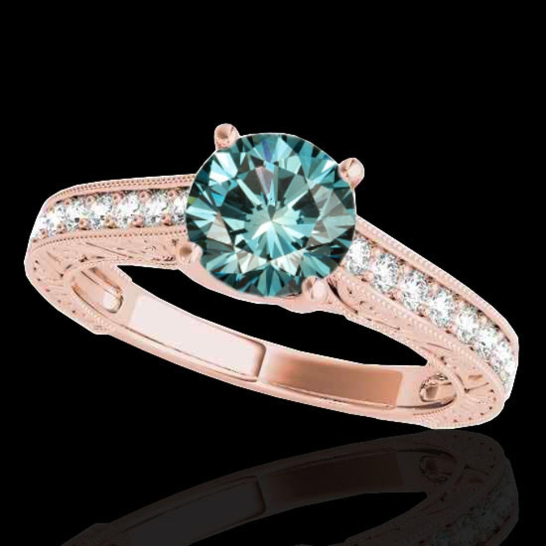 1.32 CTW SI Certified Fancy Blue Diamond Solitaire Ring