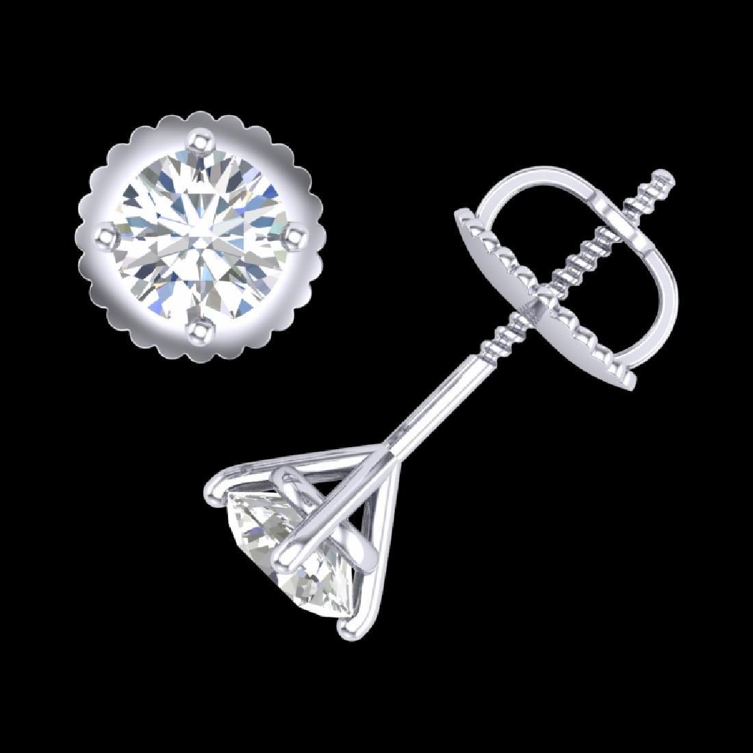 0.65 CTW VS/SI Diamond Solitaire Art Deco Stud Earrings - 3