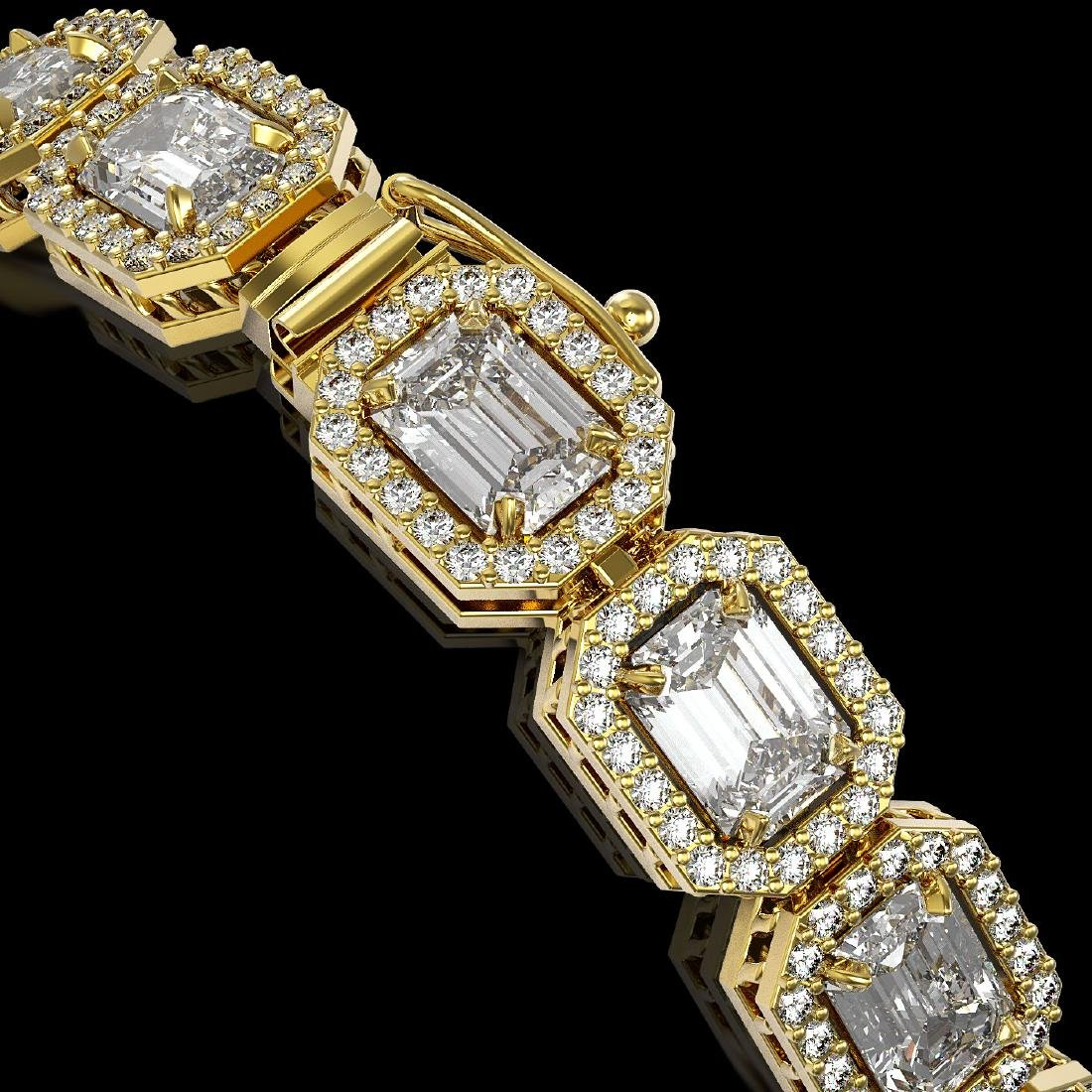 14.57 CTW Emerald Cut Diamond Designer Bracelet 18K - 3
