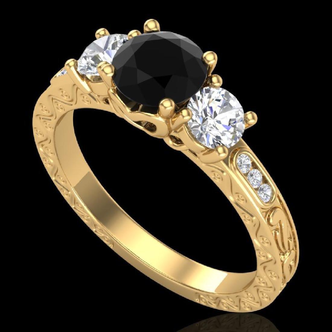 1.41 CTW Fancy Black Diamond Solitaire Art Deco 3 Stone