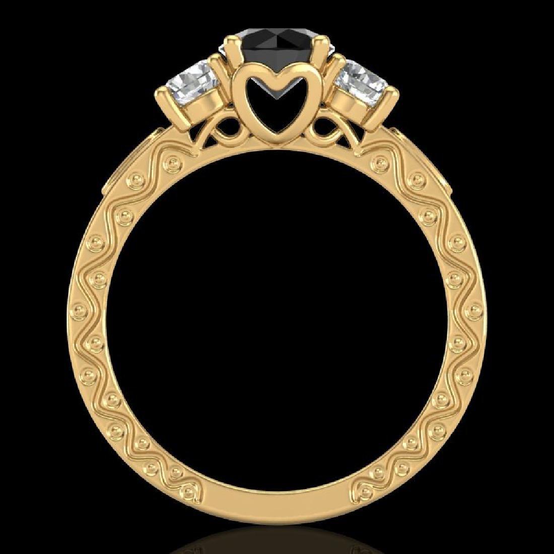 1.41 CTW Fancy Black Diamond Solitaire Art Deco 3 Stone - 3