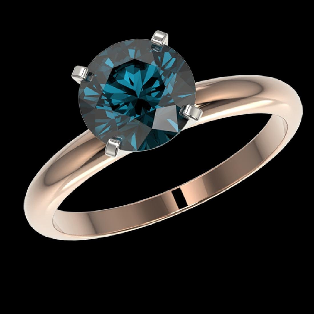 2 CTW Certified Intense Blue SI Diamond Solitaire - 2