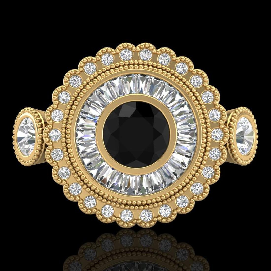 2.62 CTW Fancy Black Diamond Solitaire Art Deco 3 Stone - 2
