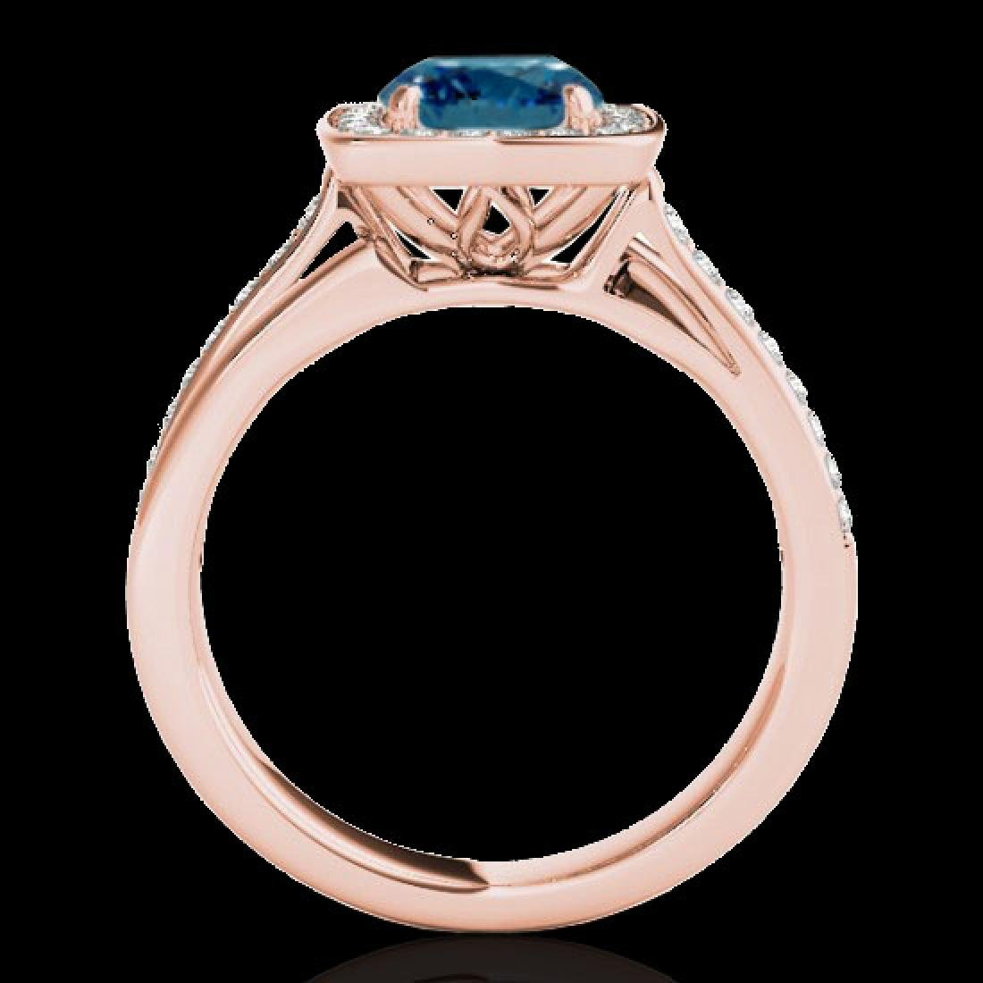 1.33 CTW SI Certified Fancy Blue Diamond Solitaire Halo - 2