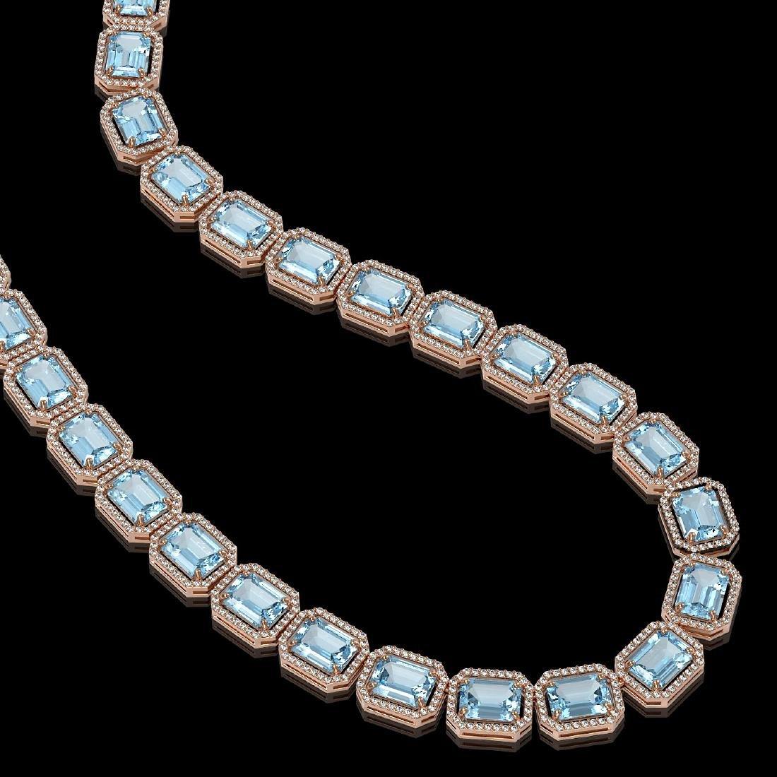 78.34 CTW Sky Topaz & Diamond Halo Necklace 10K Rose - 2
