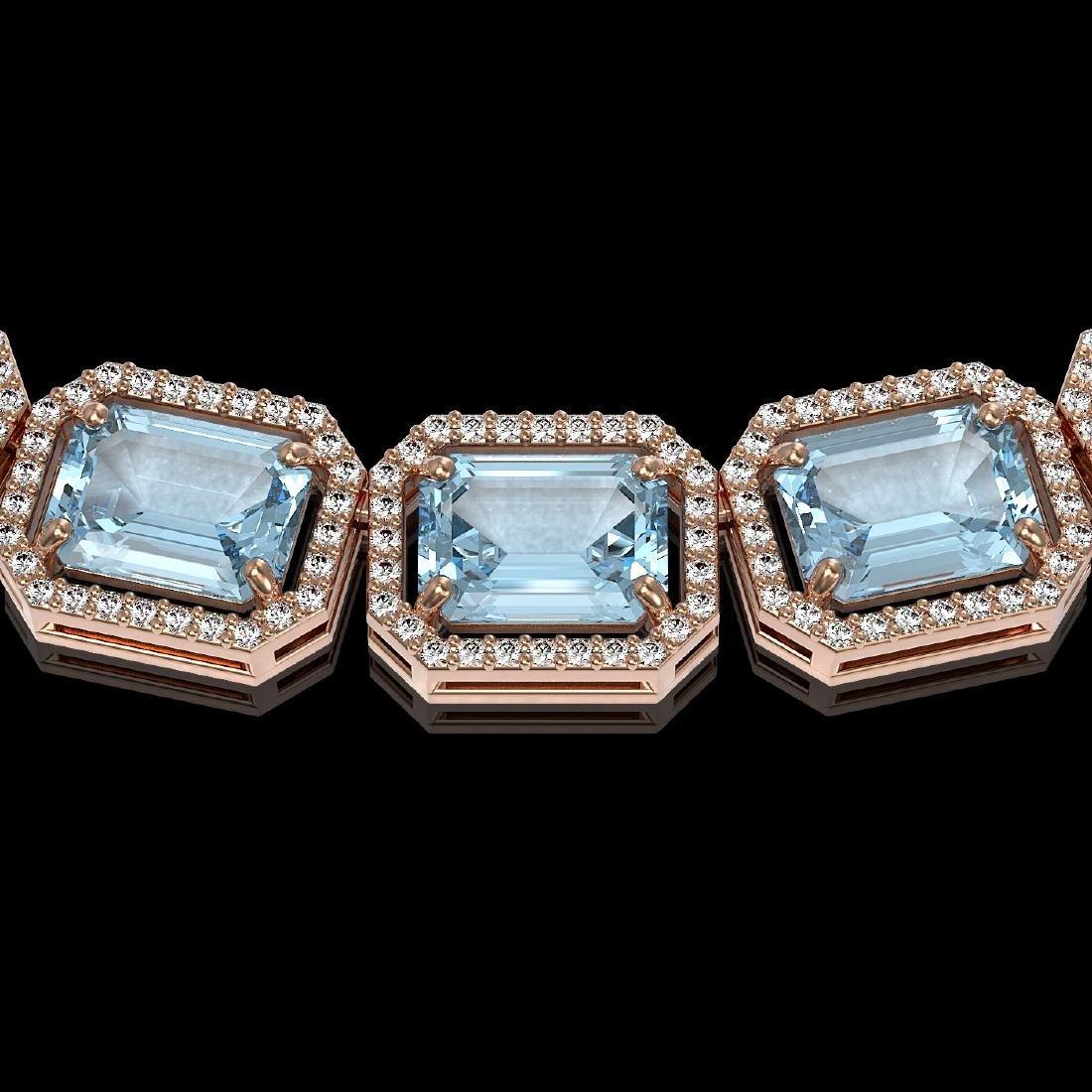 78.34 CTW Sky Topaz & Diamond Halo Necklace 10K Rose - 3