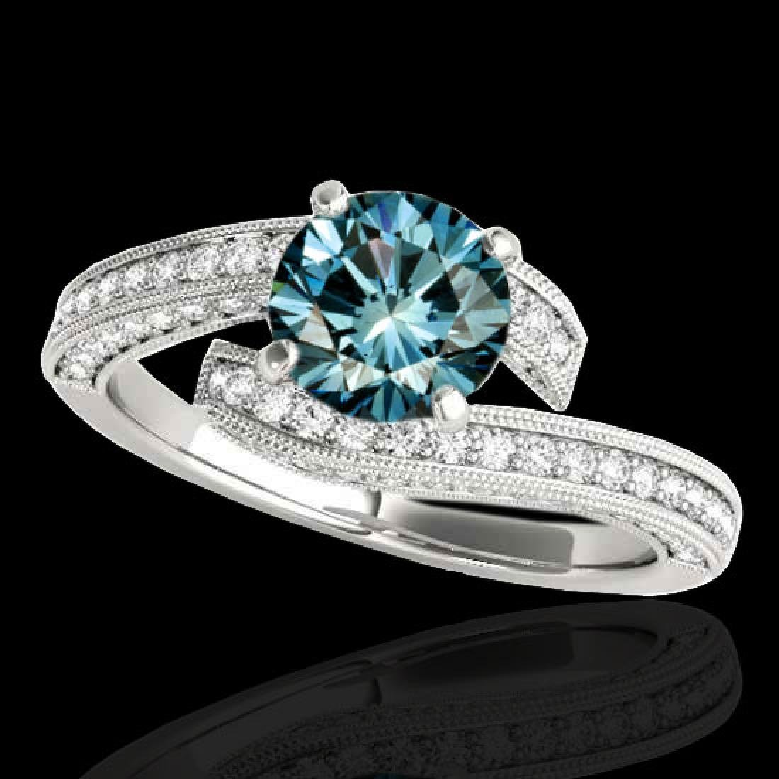 2 CTW SI Certified Fancy Blue Diamond Bypass Solitaire