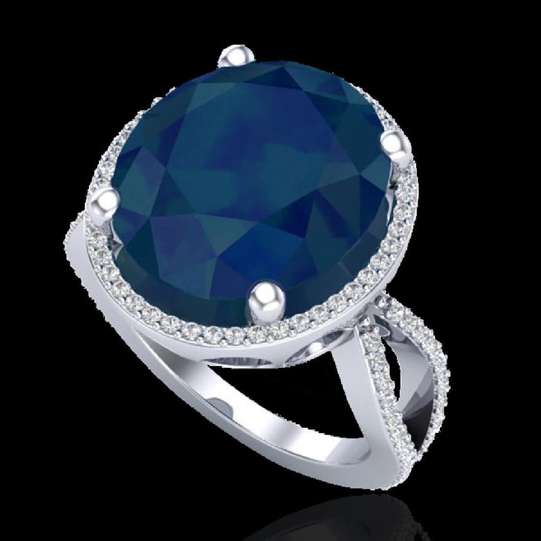12 CTW Sapphire & Micro Pave VS/SI Diamond Halo Ring - 2