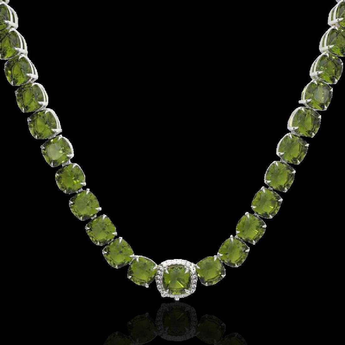 100 CTW Green Tourmaline & VS/SI Diamond Halo Micro - 2