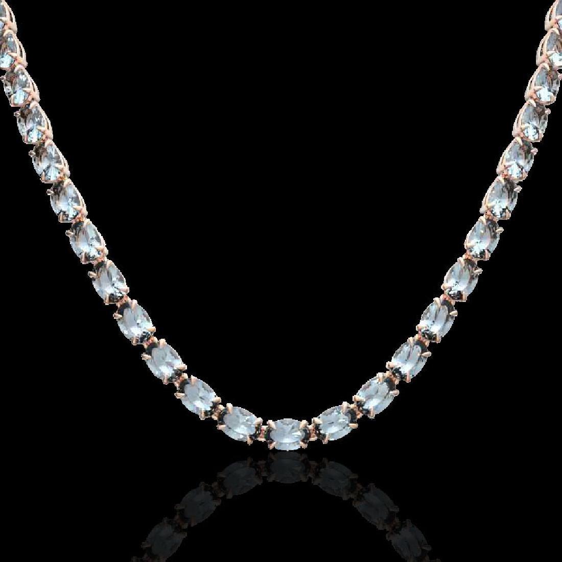 29 CTW Aquamarine Eternity Tennis Necklace 14K Rose - 2