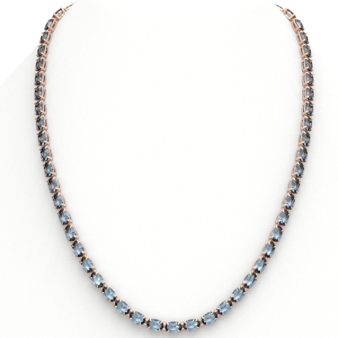 29 CTW Aquamarine Eternity Tennis Necklace 14K Rose - 3