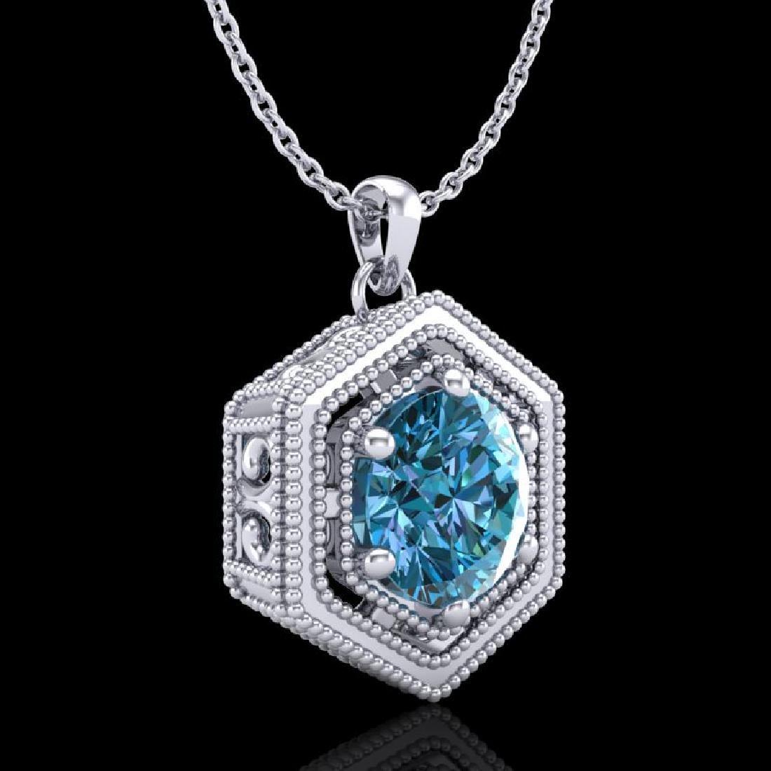 0.76 CTW Fancy Intense Blue Diamond Solitaire Art Deco - 3