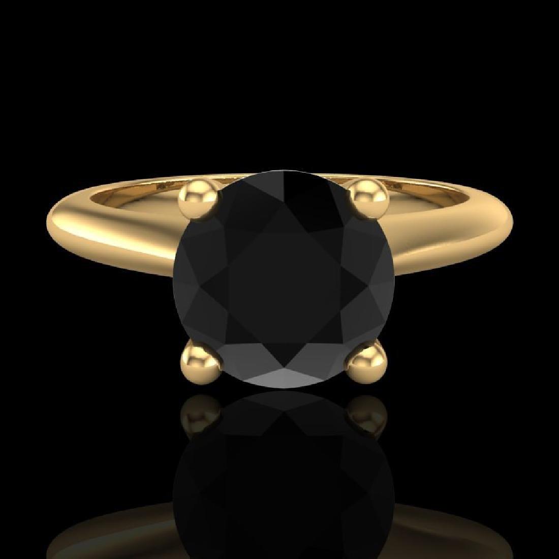 1.6 CTW Fancy Black Diamond Solitaire Engagement Art - 2