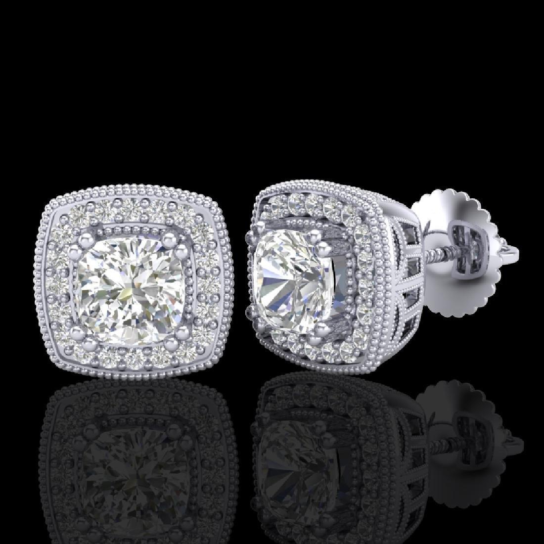 1.25 CTW Cushion Cut VS/SI Diamond Art Deco Stud - 2