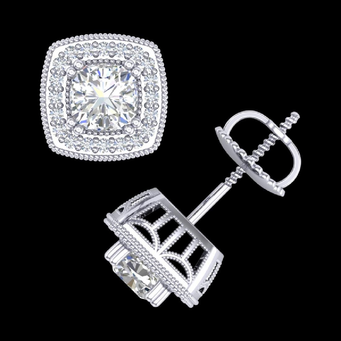 1.25 CTW Cushion Cut VS/SI Diamond Art Deco Stud - 3