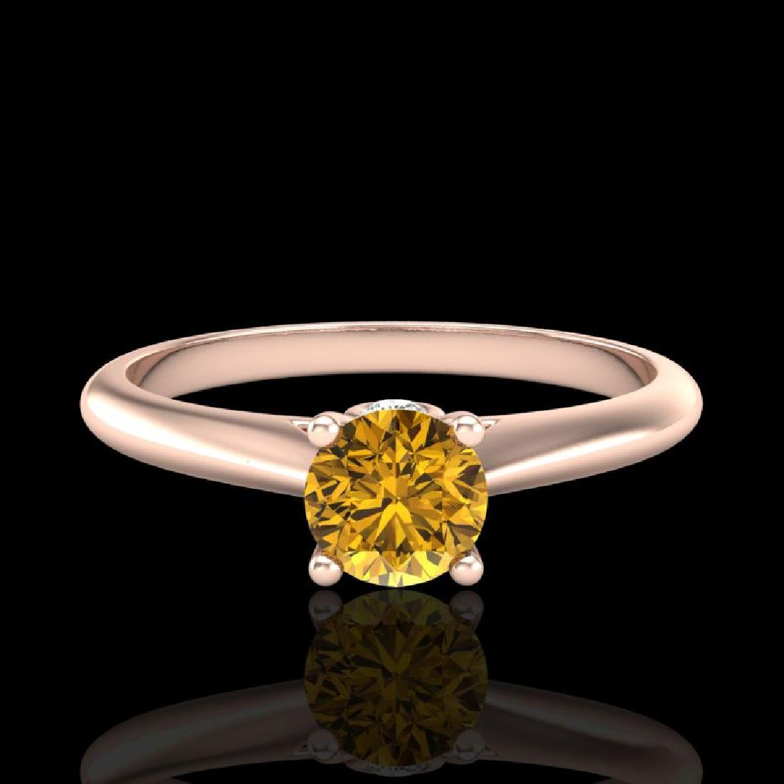 0.4 CTW Intense Fancy Yellow Diamond Engagement Art - 2