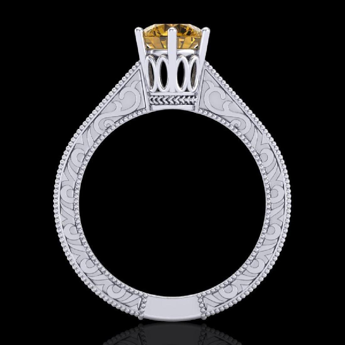 1 CTW Intense Fancy Yellow Diamond Engagement Art Deco - 3