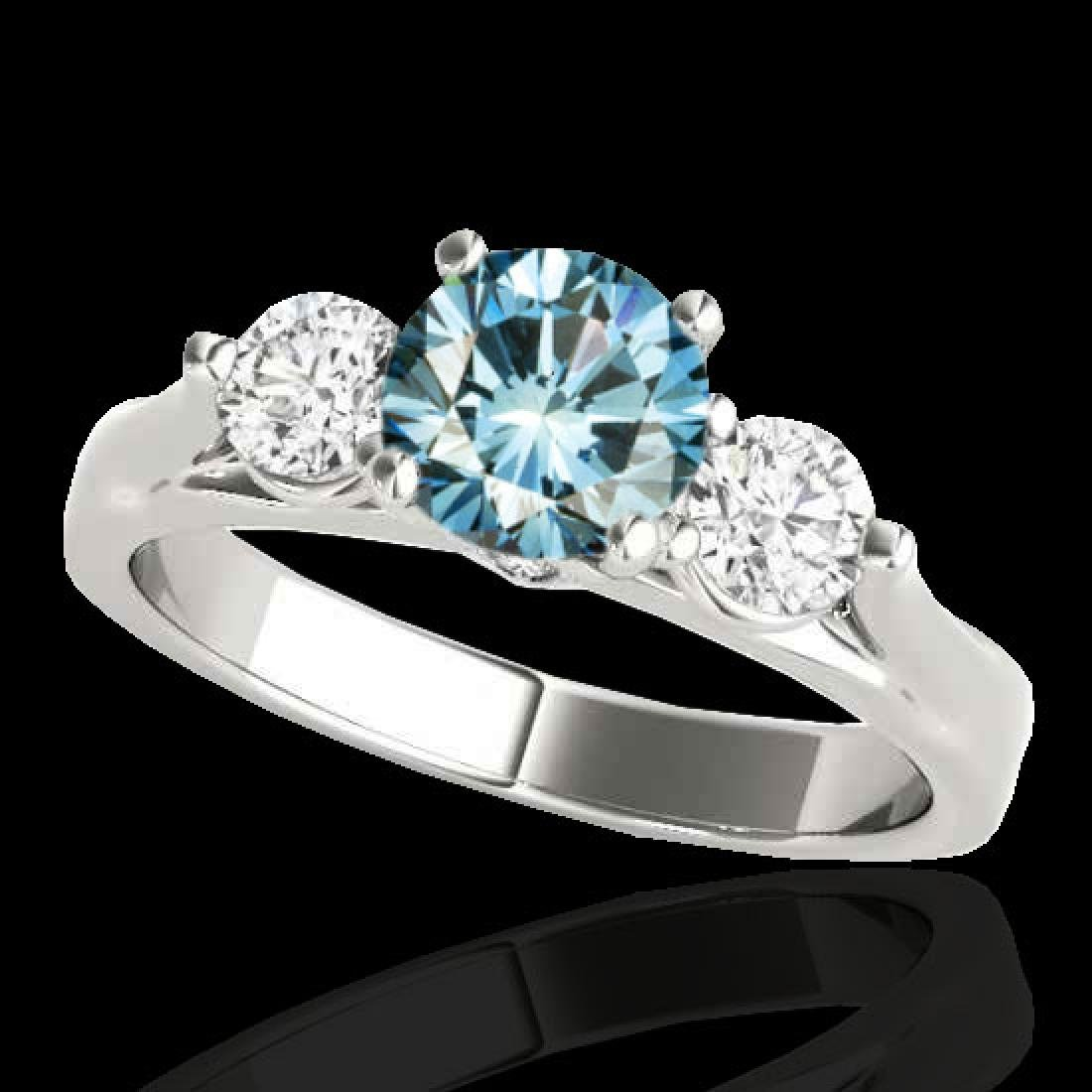 1.5 CTW SI Certified Fancy Blue Diamond 3 Stone Ring