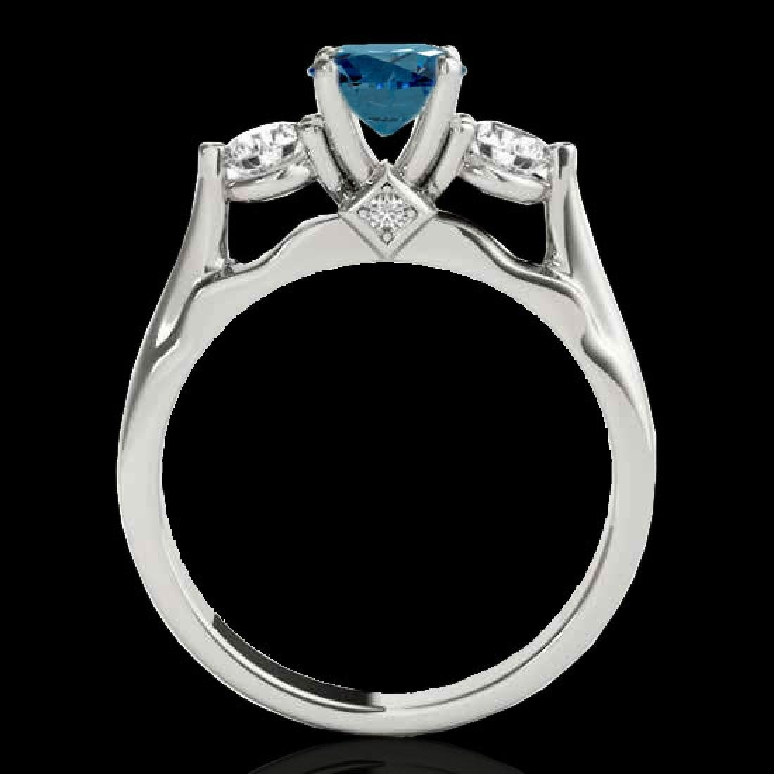 1.5 CTW SI Certified Fancy Blue Diamond 3 Stone Ring - 2