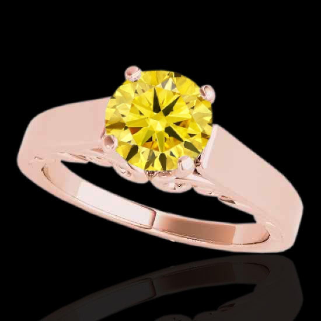 1 CTW Certified SI/I Fancy Intense Yellow Diamond