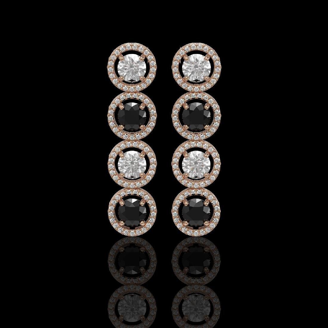 5.58 CTW Black & White Diamond Designer Earrings 18K